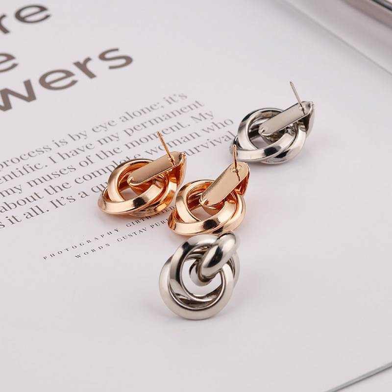 Gold Silver Alloy Drop Earrings For Women Exaggeration Earrings Wedding Simple Fashion Jewelry Trend Accessories Earrings