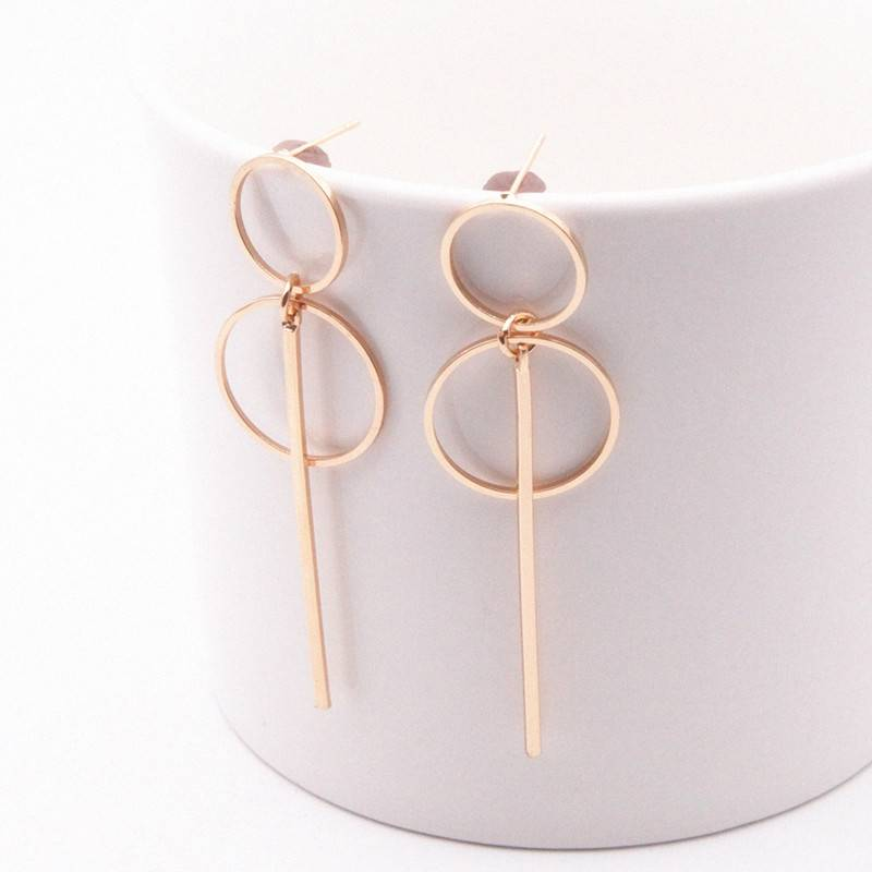 2018 new Fashion Earrings Punk Simple Gold/ Silver / Long Section Tassel Pendant Size Circle Earrings For Ladies Gifts Wholesale Earrings