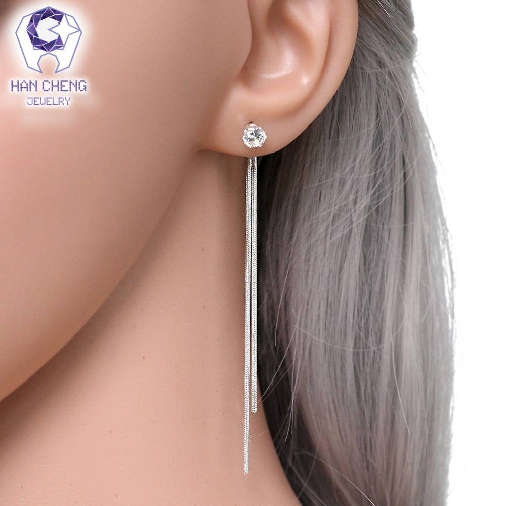 New Fashion Silver Plated Dangle Hanging Gem Stone Rhinestone Long Drop Earrings For Women Jewelry brincos bijoux Earrings