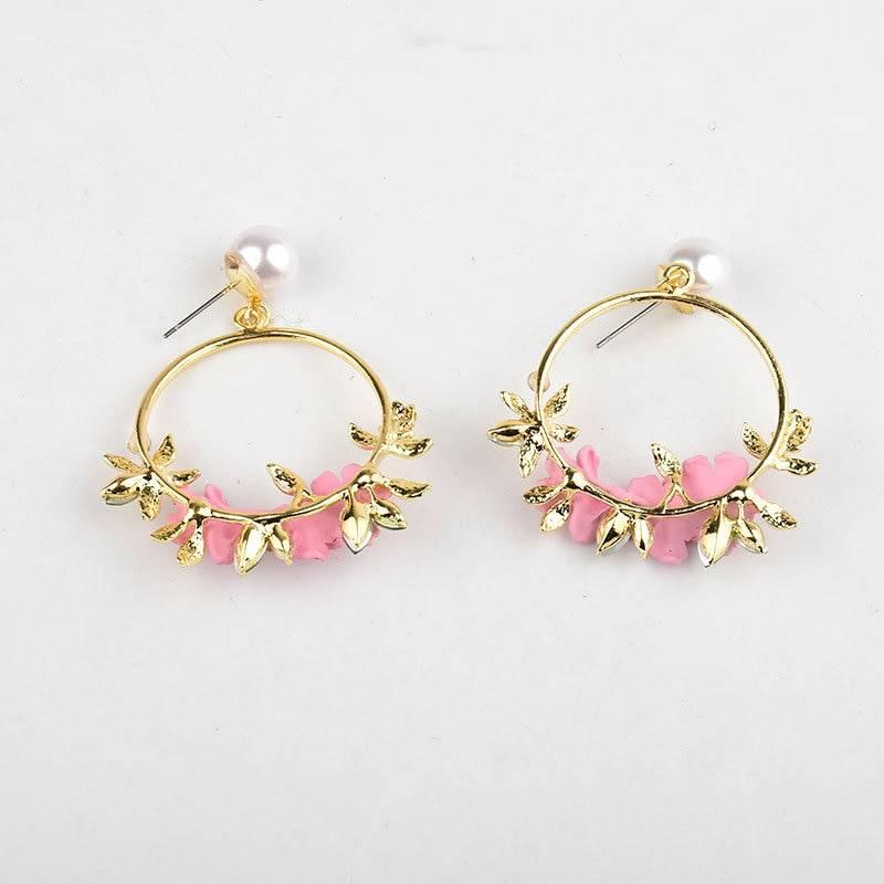 Trendy Cute Pink Flower Earrings For Women Girls Jewelry Female Rhinestone Gold Metal Round Circle Drop Earrings Gifts Brincos Earrings