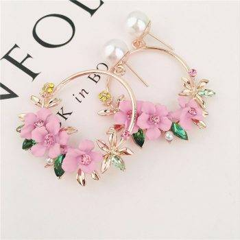 Trendy Cute Pink Flower Earrings For Women Girls Jewelry Female Rhinestone Gold Metal Round Circle Drop Earrings Gifts Brincos Earrings