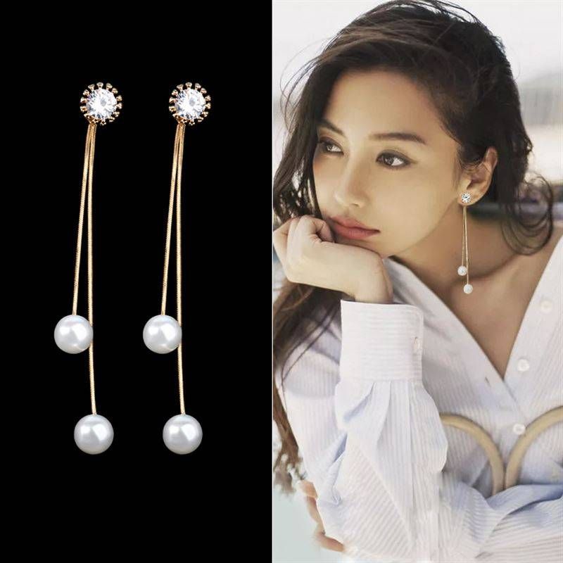 Elegant Pendientes Flecos 2019 Women Long Earring CZ Pearl Charm Pendent Snake Chain Tassel Earring Bridal Wedding Jewelry Earrings Wedding & Engagement Jewelry