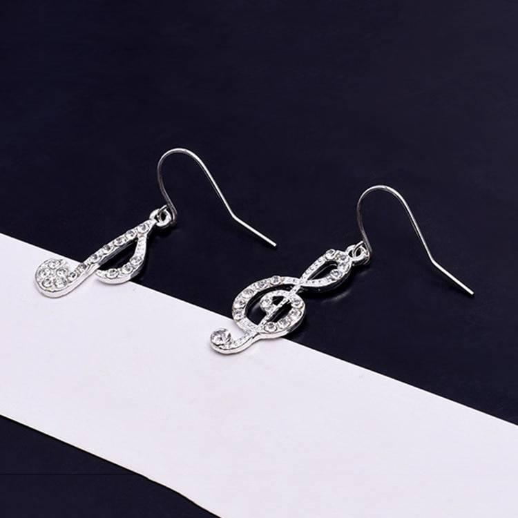 Asymmetric Personality Trendy Music Notes Ear Hook Crystal Silver Color Rhinestone Earring Women Accessory Lady Dangle Earrings Earrings