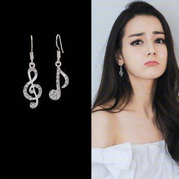 Asymmetric Personality Trendy Music Notes Ear Hook Crystal Silver Color Rhinestone Earring Women Accessory Lady Dangle Earrings Earrings