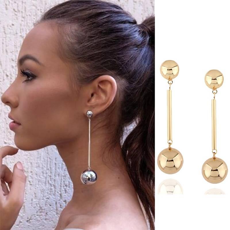 Personalized Punk Fashion Round Ball Long Chain Dangle Jewelry Trendy Earrings For Women Beauty Decoration Statement Jewelry Earrings