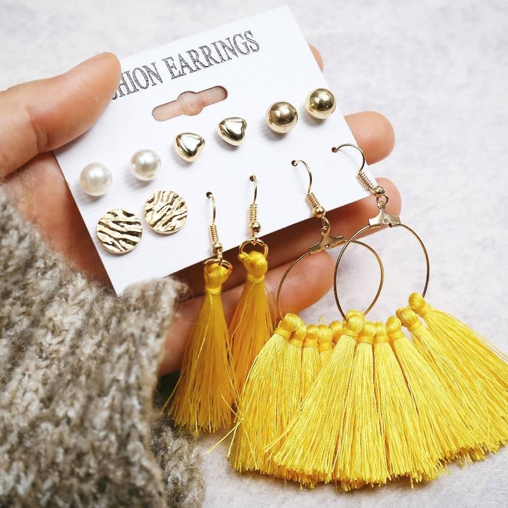 Bohemian Earring Long Tassel Drop Earrings Set For Women Girl 2019 Fashion Geometric Earring Cheap Brincos Female Jewelry Earrings