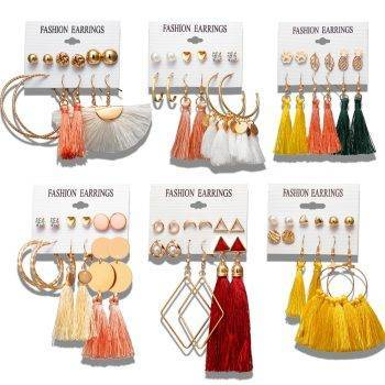 Bohemian Earring Long Tassel Drop Earrings Set For Women Girl 2019 Fashion Geometric Earring Cheap Brincos Female Jewelry Earrings