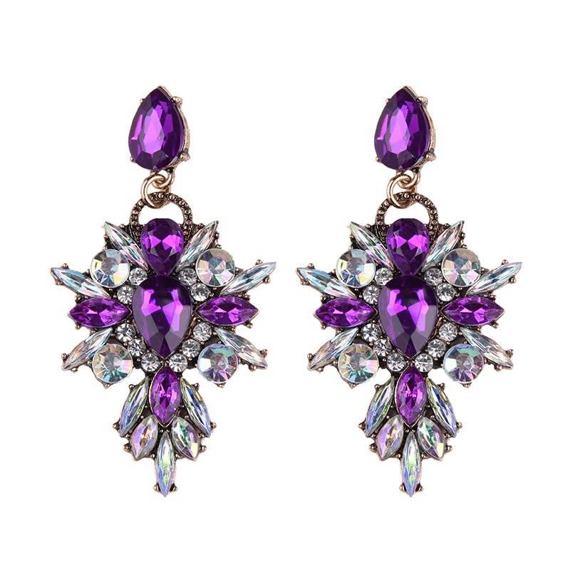 7 Colors Big Brand Luxury Flower Crystal Dangle Earrings Fashion Colorful Starburst Gem Statement Drop Earring Jewelry for Women Earrings