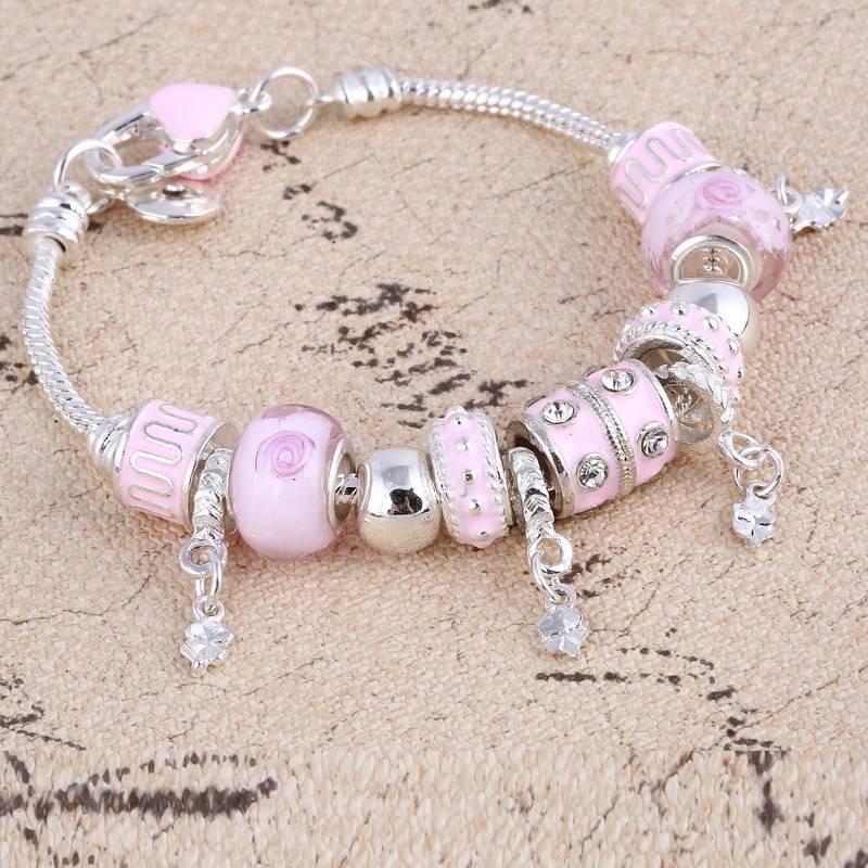 Pink Crystal Charm Silver Bracelets & Bangles for Women Bracelets