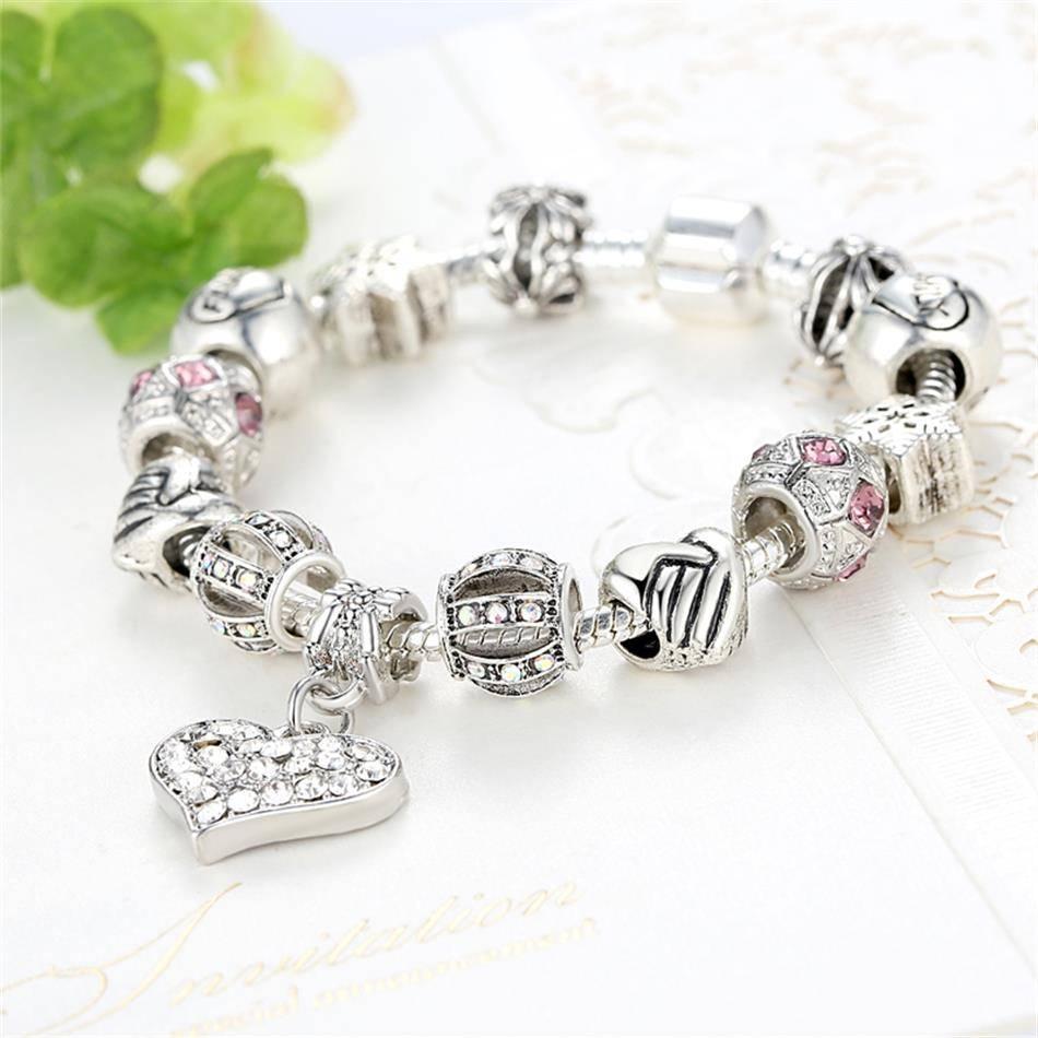 Luxury Brand Women Bracelet 925 Unique Silver Crystal Charm Bracelet for Women DIY Beads Bracelets & amp; Bangles Jewelry Gift Bracelets