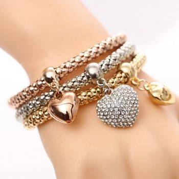 3 Pcs/Set Crystal Owl Heart Charm Bracelets & amp; Bangles Gold/Silver Plated Elephant Anchor Pendants Rhinestone Bracelets For Women Bracelets