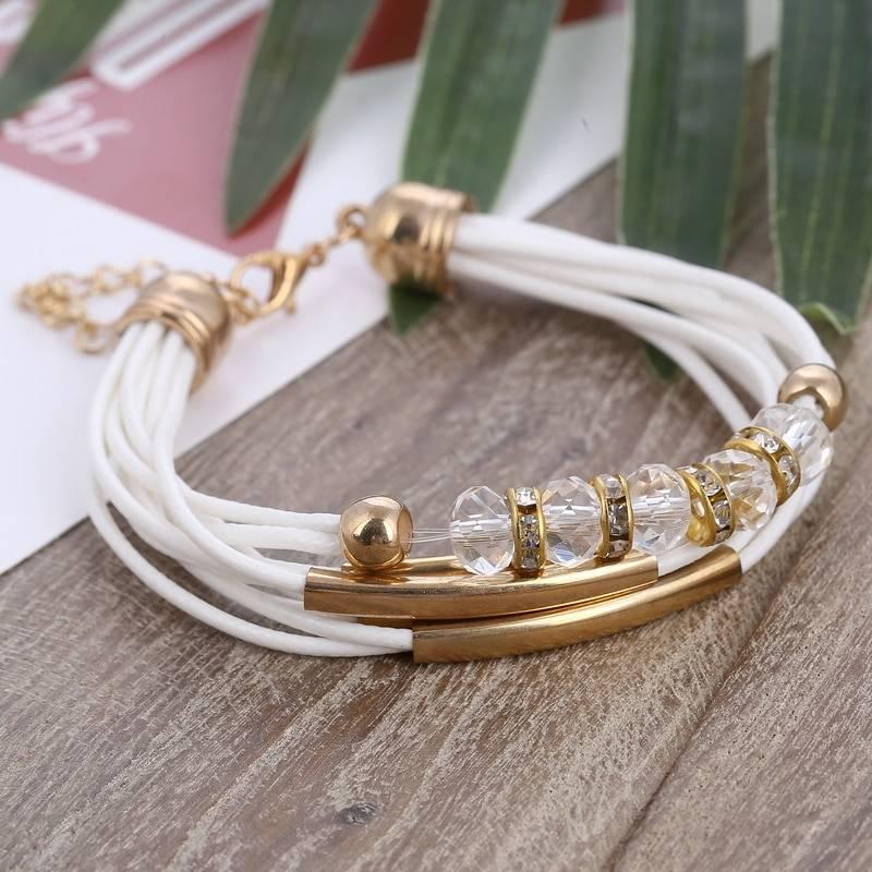 Bracelet 2019 New Fashion Jewelry Leather Bracelet for Women Bangle Europe Beads Charms Gold Bracelet Christmas Gift Bracelets