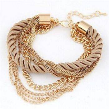 Free Shipping Fashion Multilayer Charm Bracelet Exaggerated Gold Chain Bracelet Femme High Quality Of Handwoven Rope Jewelry Bracelets