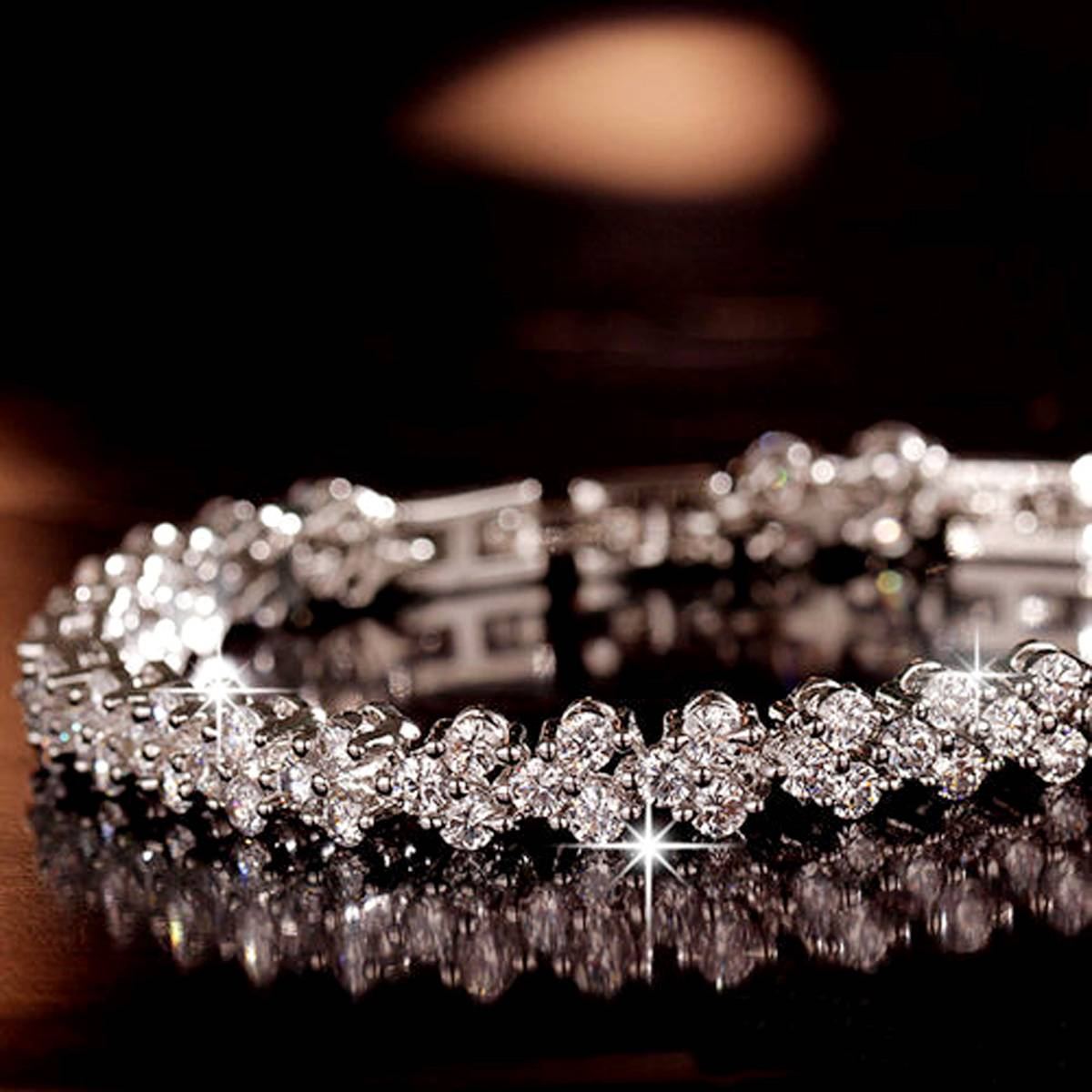Luxury Vintage Bracelet Crystal Bracelets For Women Charm Silver Bracelets & Bangles Femme Bridal Wedding Fine Jewelry Gift Bracelets Wedding & Engagement Jewelry