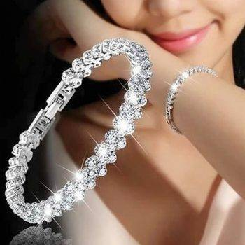 Luxury Vintage Bracelet Crystal Bracelets For Women Charm Silver Bracelets & Bangles Femme Bridal Wedding Fine Jewelry Gift Bracelets Wedding & Engagement Jewelry