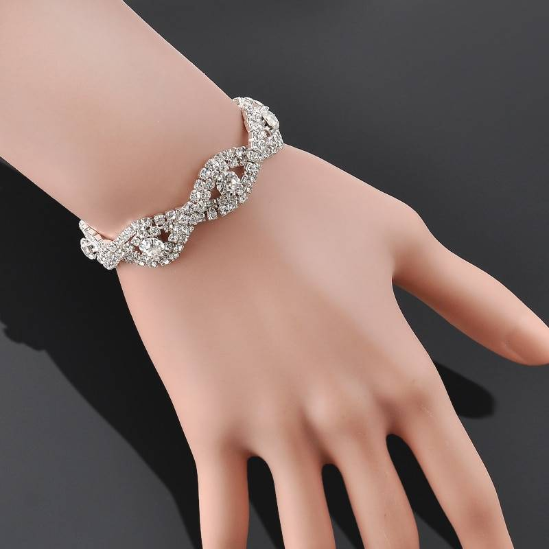 Elegant Deluxe Silver Rhinestone Crystal Bracelet Bangle Jewelry For Women Girl Gift Bracelets Wedding & Engagement Jewelry