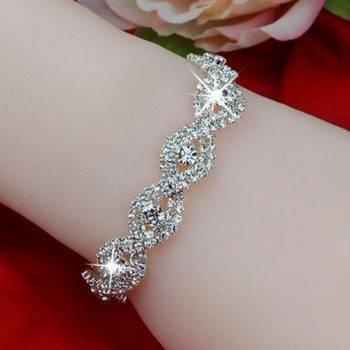 Elegant Deluxe Silver Rhinestone Crystal Bracelet Bangle Jewelry For Women Girl Gift Bracelets Wedding & Engagement Jewelry