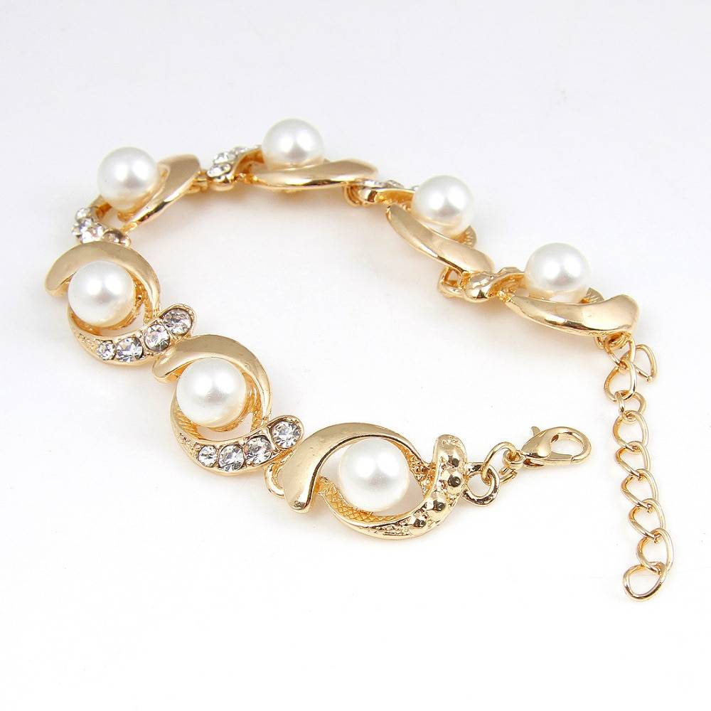 Hesiod Brand New Imitation Pearl Bracelet Women Fashion Trendy Gold Silver Color Chain Crystal Bracelet Alloy Adjustable Bracelets