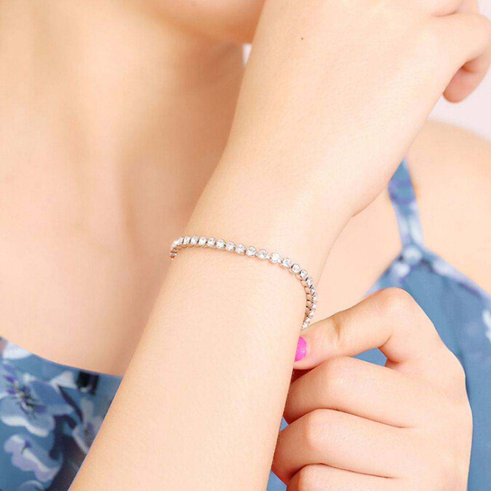 1 Pc Newest Women Shiny Silver Bracelets Charm Austria Crystal Cuff Bangles Fashion Jewelry Best Gift For Women Bracelets