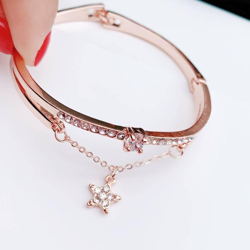 Luxury Famous Pandora Jewelry Rose Gold Stainless Steel Bracelets & Bangles Female Heart Forever Love Charm Bracelet For Women Bracelets Wedding & Engagement Jewelry