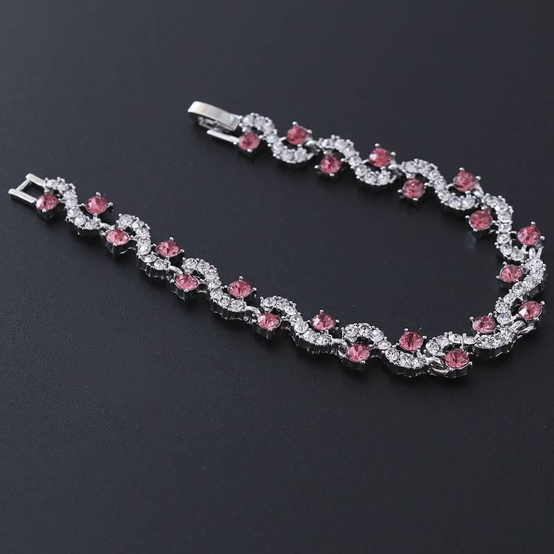 Luxury Blue Crystal Bracelet For Wedding Silver Bracelet Rhinestone Charm Women Bangles Jewelry Pulseira Feminina Bracelets Wedding & Engagement Jewelry