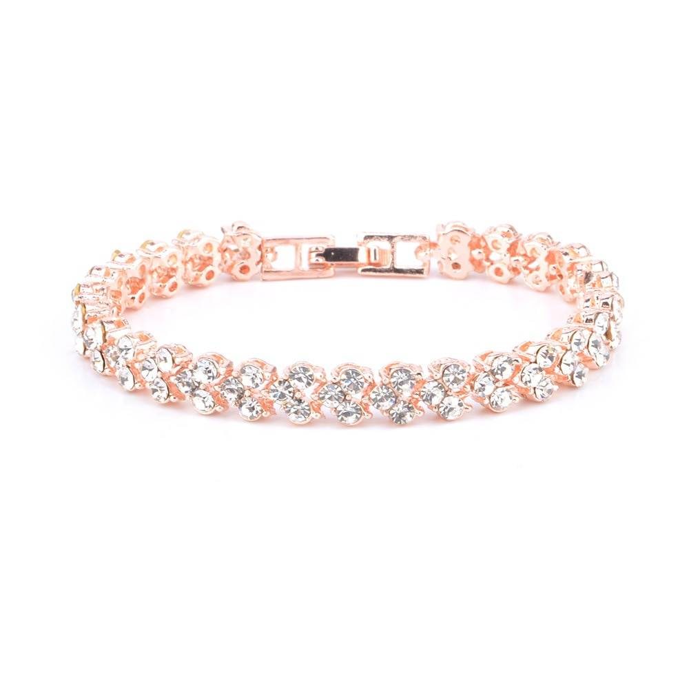 Exquisite Luxury Roman Crystal Bracelet For Women Wedding Gift Korean Rose Gold Silver Chain Bracelets Bangles Jewelry Bracelets Wedding & Engagement Jewelry