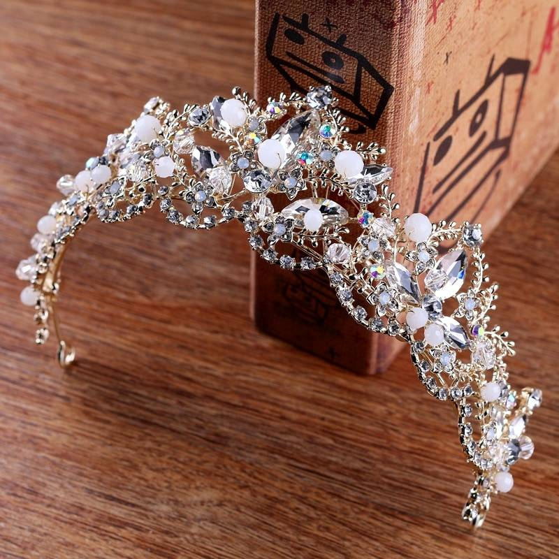 2018 New Fashion Baroque Luxury Crystal AB Bridal Crown Tiaras Light Gold Diadem Tiaras for Women Bride Wedding Hair Accessories Jewelry Wedding & Engagement Jewelry