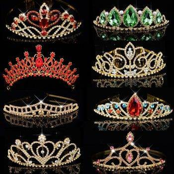 Big Queen Princess Crown Diadem Green Red Rhinestone Gold Headdress Head Crystal Tiara Bridal Wedding Hair Jewelry Accessories Wedding & Engagement Jewelry