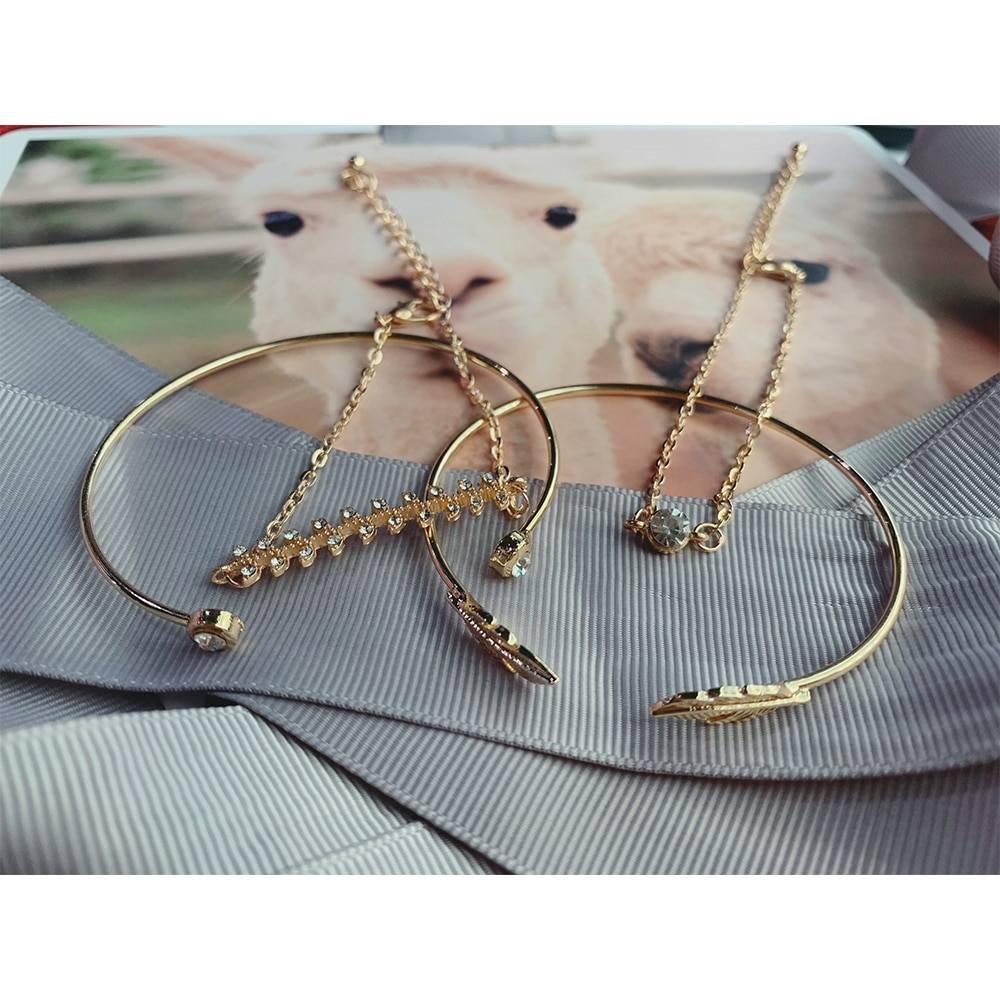 4 Pcs/set Women's Fashion Crystal Leaves Geometric Chain Gold Bracelet Set Bohemian KISS WIFE Vintage Jewelry Bracelets