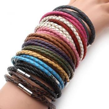 2019 New Fashion 100% Genuine Braided Leather Bracelet Men Women Magnetic Clasps Charm Bracelets Pulseras Male Female Jewelry Bracelets