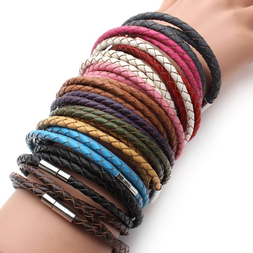 2019 New Fashion 100% Genuine Braided Leather Bracelet Men Women Magnetic Clasps Charm Bracelets Pulseras Male Female Jewelry Bracelets