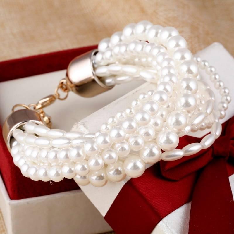 Fashion Accessories Simulated Pearl Multilayer Elastic Charm Bracelets Women Accessories Bracelets
