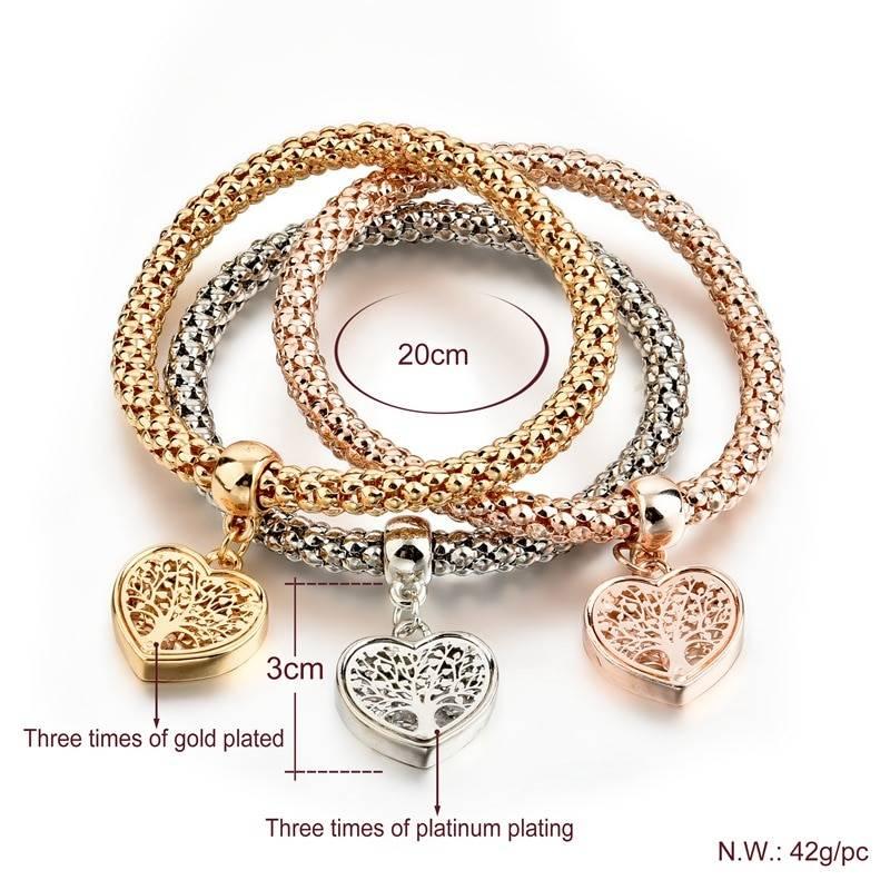 NEW Dainty Jewelry Life Tree Heart Bracelet & amp; Bangles Popcorn Chain Set Friendship Distance Bracelets Gift Bracelets