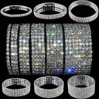 5 Styles Woman Bracelet Crystal Rhinestone Stretch Bracelet Bangle Wristband Elastic Wedding Bridal Jewelry Bracelets Wedding & Engagement Jewelry