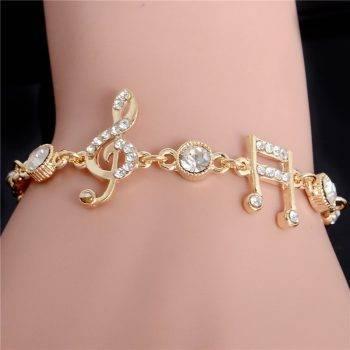 Luxury Jewelry Gifts Gold Color Musical Notes Bracelet Crystal Zircon Charm Bracelet For Women Jewelry Bracelets
