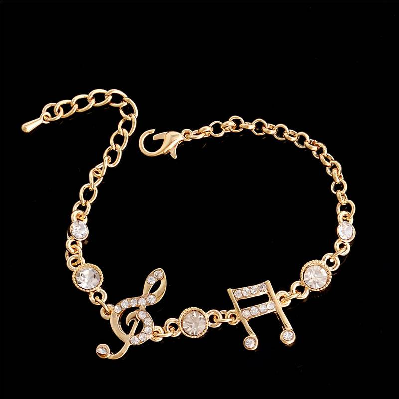Luxury Jewelry Gifts Gold Color Musical Notes Bracelet Crystal Zircon Charm Bracelet For Women Jewelry Bracelets