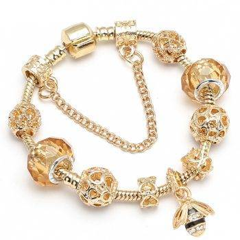 Luxury Crystal Bees Gold Color Charm Bracelet For Girl Murano Glass Beads Pandora Bracelet For Women DIY Jewelry Gift Bracelets