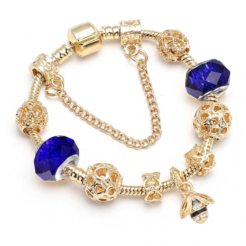 Luxury Crystal Bees Gold Color Charm Bracelet For Girl Murano Glass Beads Pandora Bracelet For Women DIY Jewelry Gift Bracelets