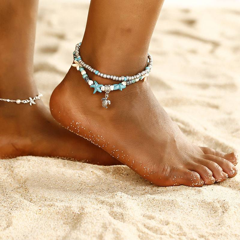 Bohemian style layered Starfish ankle beads chain anklet vintage sea turtle anklet beach Shell Charm Bracelet Boho jewelry Bracelets