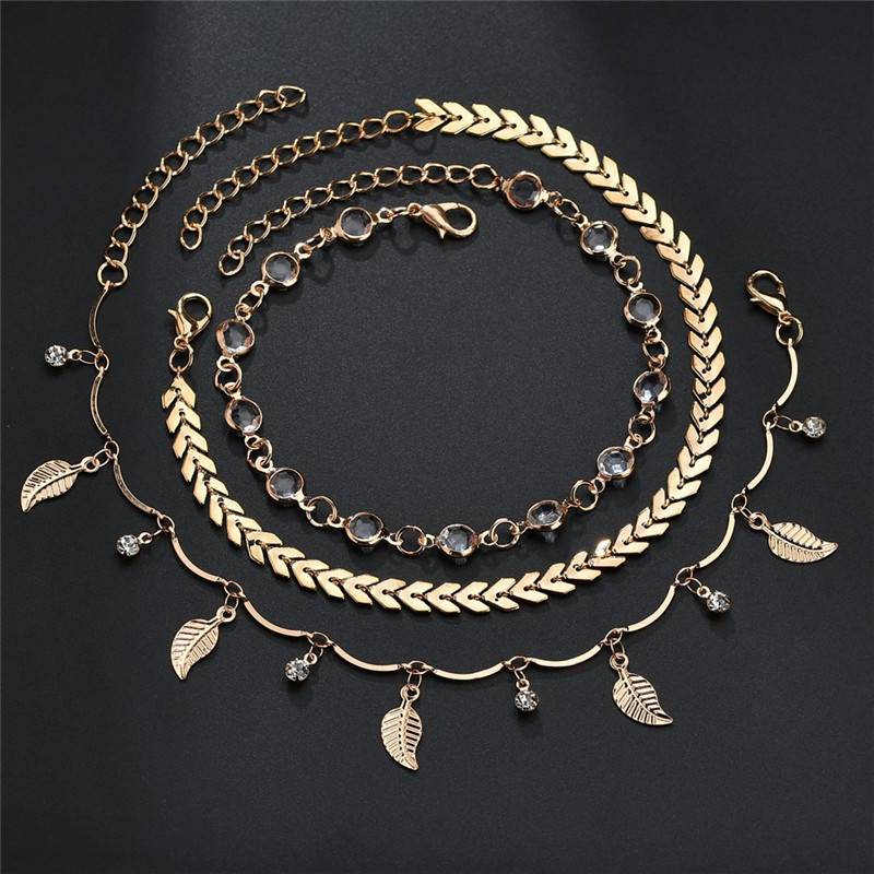 3pcs/set Anklets for Women Foot Accessories Summer Beach Barefoot Sandals Bracelet ankle on the leg Female Ankle Bracelets