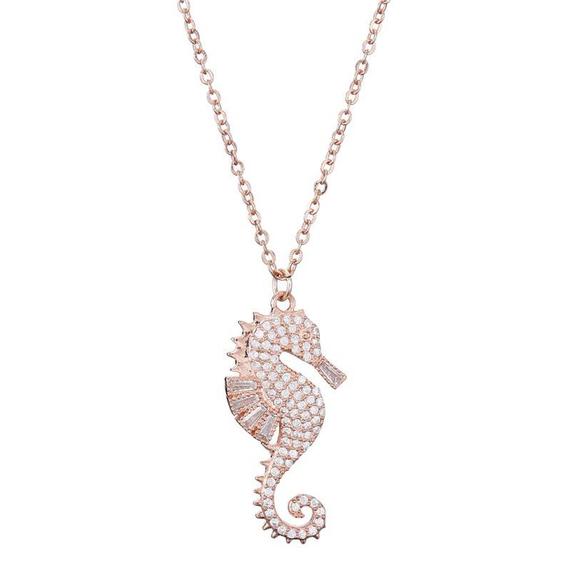 High Quality Copper Seahorse Pendant Necklace For Elegant Women Clear Cubic Zirconia Inlay Female Party Jewelry 4 Colors Necklaces