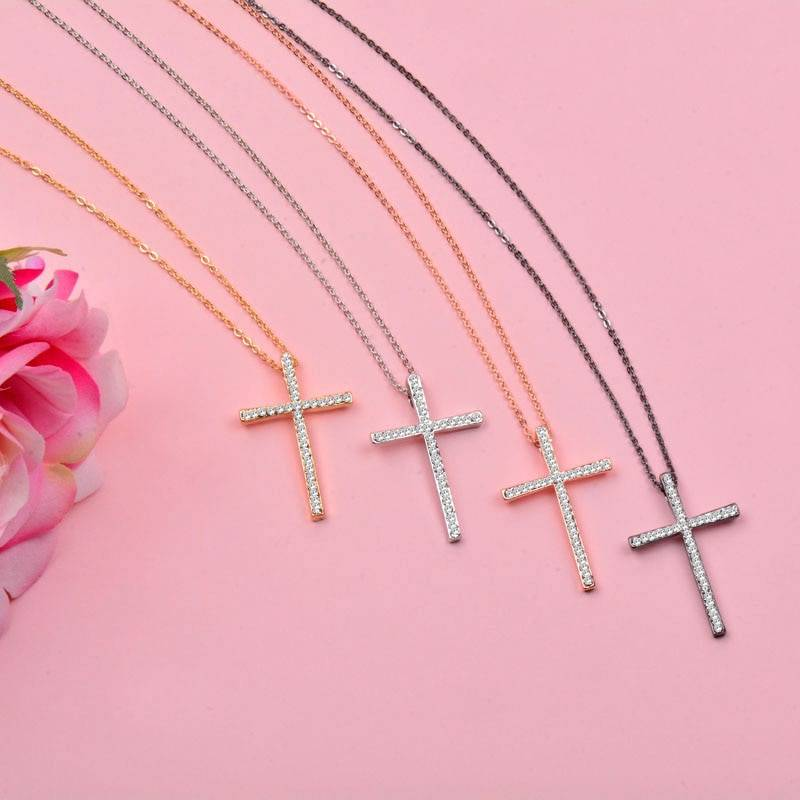 Silver Color Rhinestone Cross Pendant Necklace Chain For Women And Girl Xl402 Free Shipping SSH Necklaces