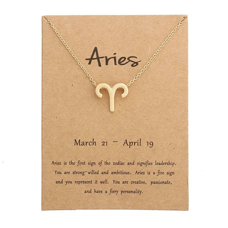 12 Constellation Pendant Necklace Zodiac Sign Necklace Birthday Gifts Message Card for Women Girl Necklaces
