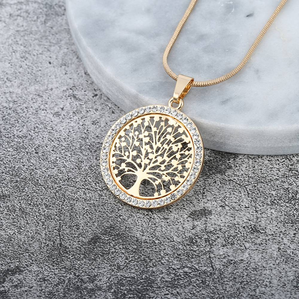 Life Crystal Round Small Pendant Necklace Gold Silver Colors Bijoux Collier Elegant Women Jewelry Gifts Necklaces