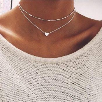 DOUBLE HORN PENDANT HEART NECKLACE GOLD Dot LUNA Necklaces