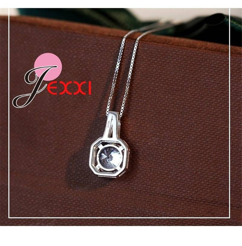 Hot 925 Sterling Silver Necklace And Pendants Jewelry For Women With Box Chain Luxurious Big CZ Crystal Stone Accessories Necklaces