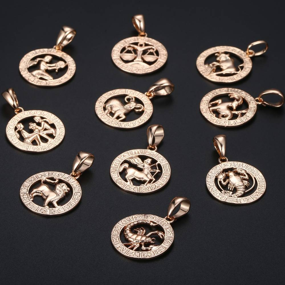 12 Zodiac Sign Constellations Pendants Necklaces For Women Men 585 Rose Gold Male Jewelry Fashion Birthday Gifts GPM16 Necklaces