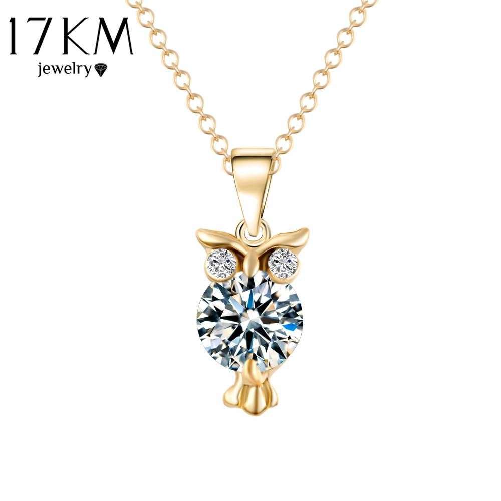 2019 New Zircon Pendants Owl Necklace For Women Crystal Heart Gold Sliver Color Long Necklaces Fashion Jewelry Christmas Gift Necklaces