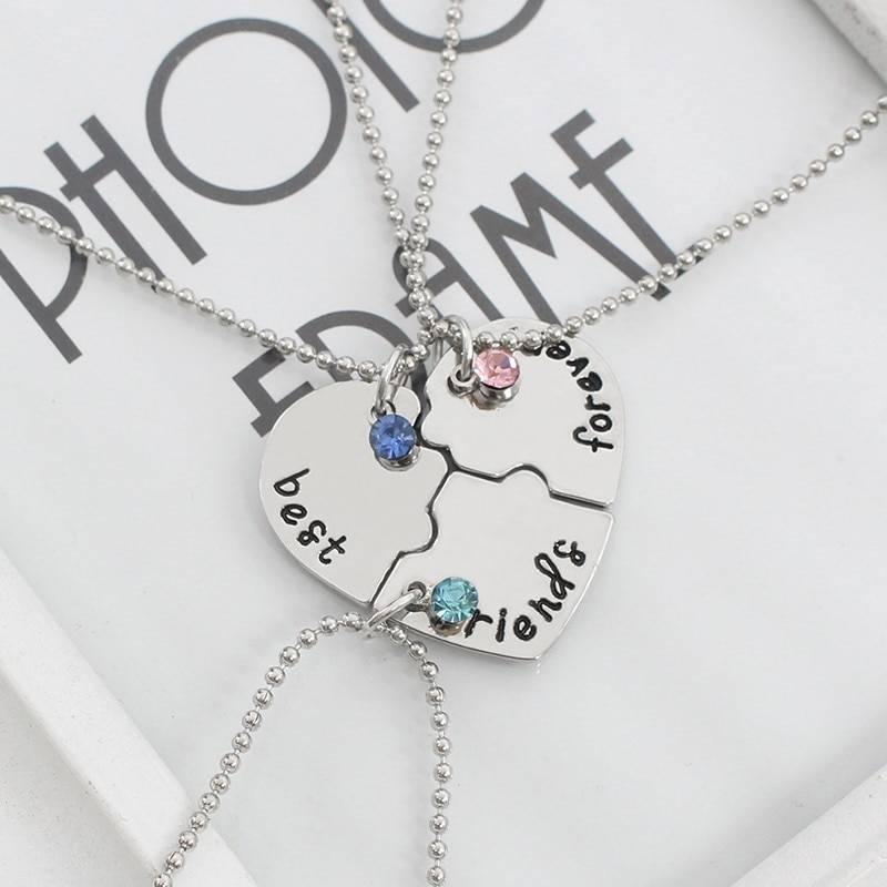 Best Friend Necklace Women Crystal Heart Tai Chi Crown Best Friends Forever Necklaces Pendants Friendship BFF Jewelry Collier Necklaces