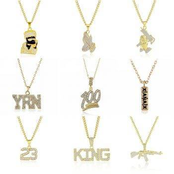 2019 Hip Hop Jewelry Women Men Gold Long Chain Necklaces Unisex Hiphop Bling Gun AK47 Letter Xanax Pill Pendant Necklace Gifts Necklaces